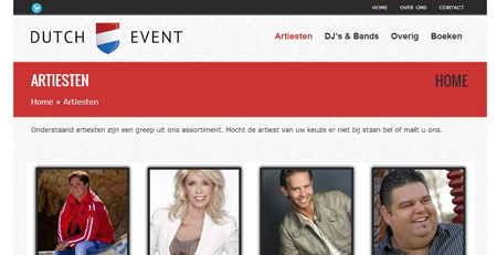 Website event organisator Artiesten